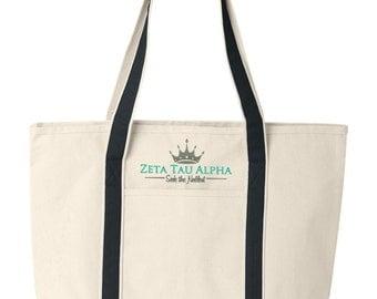 ZTA Tote Bag, Zeta Tau Alpha, Canvas Tote Bag, Zeta Tau Alpha Beach Bag, Zeta Tau AlphaCollege Book Bag, Zeta Tau Alpha Tote