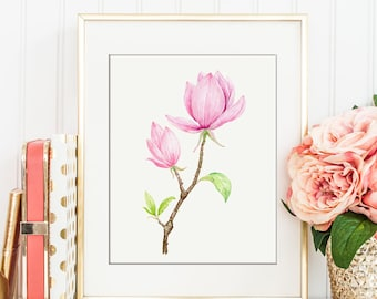 No. 80 watercolor pink magnolia branch, magnolia illustration for Instant Download, printable art, wedding print