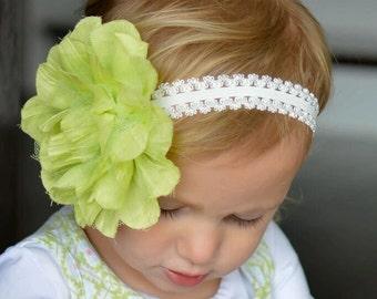 Girls Bow, Baby Headband, Baby Bow, Girls Headband, Flower Headband, Flower Bow, Green, Girl Hair Clip, Baby Girl, Girl, Headband, Bow, Clip