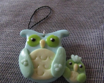 Mint Owls Charm (polymer clay owl charm gift jewellery mint)