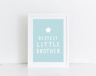 Little Brother Gift Boys Room Decor Baby Boy Gift Little Brother Print Boys Bedroom Decor Best Brother Wall Art Print Brother Gift