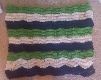 Multicolor handmade wavy afghan crocheted baby blanket
