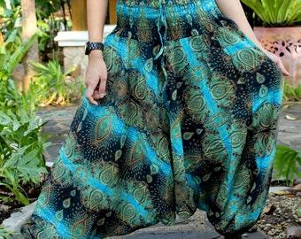 Harem pants drop crotch pants hippie pants hobo pants feather blue