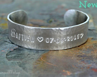 """Baptism Bracelet with Personalized Date and Secret Message; JW Gift; Baptism Gift Custom Made Bangle Bible Quote 5/8"""" x 6"""" Hand Stamped Cuff"""