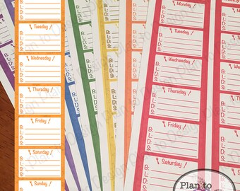 Weekly Meal Plan Sidebar Sticker 2016-2017 made for Erin Condren Life Planner and Happy Planner