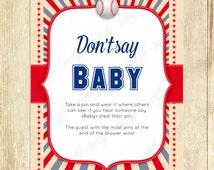 Baseball Baby Shower Game, Don't Say Baby Game, Icebreaker, New Mom Party, Instant Download, Baseball Invitation, Shower Activity, Pregnancy