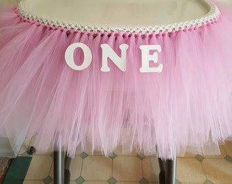 Tutu Table Skirt High Chair Banner Tulle Cake Smash Party