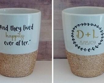 Personalized coffee mug - custom coffee mug - glitter coffee mug - Anniversary Gift - Wedding Gift - Gift for her