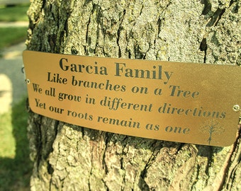 Championship Tree Plaque, Memorial Tree Tag, Tree Marker-FREE shipping