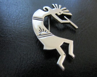 Vintage Sterling Silver Kokopelli Brooch or Scarf Pin