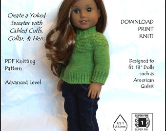 "Yoking Around-AG-PDF knitting pattern for 18"" dolls like American Girls--Grace's Gifts"