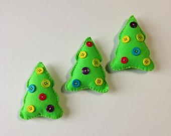 Christmas ornaments - Tree Ornaments - Felt Ornaments - Set of 3 Felt Christmas tree ornaments