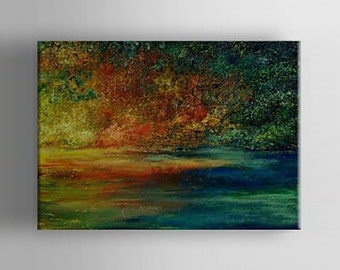 """36"""" x 30"""" Large Wall Art Abstract painting office decor art landscape paintings abstract art green blue abstract by Davies Art Gallery"""
