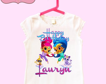 Shimmer and Shine Birthday shirt - name with glitter