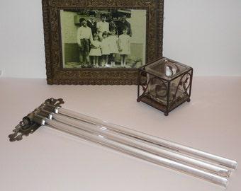 Vintage Glass Towel Rail- Art deco, three rod, rail, metal hinge.