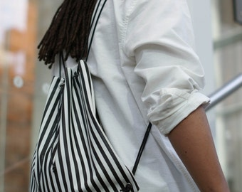 Stripes Vinyl Drawstring Bag