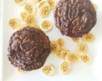 Organic Jumbo Double Chocolate Banana Muffins Low Carb Low Calorie Gluten Free Lactose Free Low Sugar