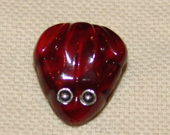 Cute Vintage Red Glass Frog Button with Metal Eyes