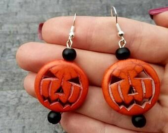 Halloween earrings, Pumpkin earrings, Halloween costume, Halloween jewelry, Dangle earrings, Jack o lantern, Gift for Her, halloween gift