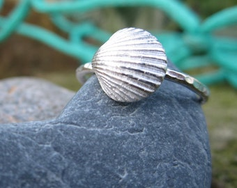 Cornish Shell Silver Stackable Ring
