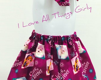 Frozen Toddler Skirt with matching hair bow/ Birthdays/ Parties/ Skirts/ Bows