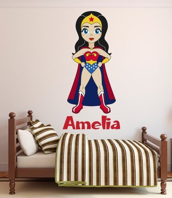 Wonder Woman Wall Decal Custom Name Wall Decal Wonder Girl - Superhero wall decals for girls
