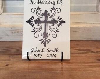 """In Memory Of - Decorative Cross, ceramic Tile, 6"""" x 8"""""""