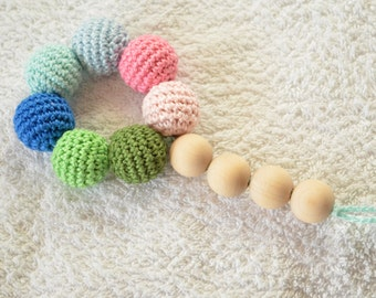 Colorful Teething Bracelet , Wooden Teether , Wooden Ring , Baby teething toy with crochet wooden beads