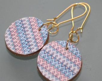 Earrings round geometric earrings pink and blue diamond pattern . digital image geometric inspiration.