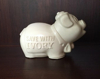 """Vintage """"Save with Ivory"""" Advertising Piggy Bank"""