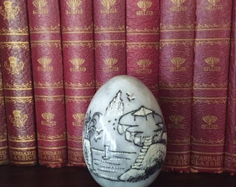 Vintage Marble Egg with Etched Asian Mountain Scene