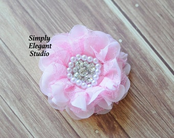 Pink Lace & Chiffon Fabric Flowers with Pearls and Rhinestones, Chiffon Ruffled Fabric Flowers, Flowers For Baby Hair Accessories
