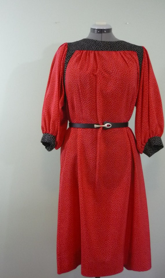 Black, Red, and White Asymmetrical Polka Dotted Dress / Late 1960s, Early 1970s Trapeze Style / Modern Size 2X / Plus Size
