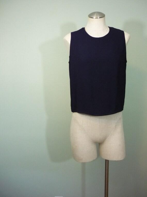 1980s Sonia Rykiel Sleeveless Blouse / Minimalist Navy Blue Shell / Designer Crepe Blouse / Modern Size Small S to Medium M