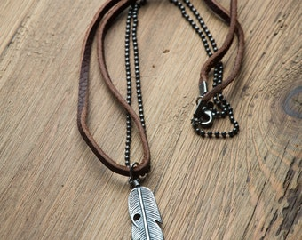 Men's Necklaces // Man Leather Necklace // Boho Necklace // Feather Necklace // Leather Necklace for Women and Men  // Necklaces For Man
