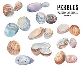 Pebbles clipart Watercolor clip art Stones clip art Digital watercolor Stock image