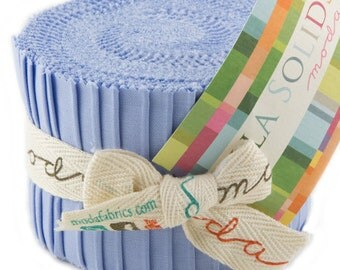 "Bella Solids - Jr Jelly Roll - Moda - (20) 2.5"" Strips - Periwinkle-Blue # 32"