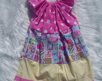Shopkins Basic Flutter Dress SIZE 4, shopkins dress, shopkins,baby girl dress,girls dress,flutter dress,handmade dress,baby dress