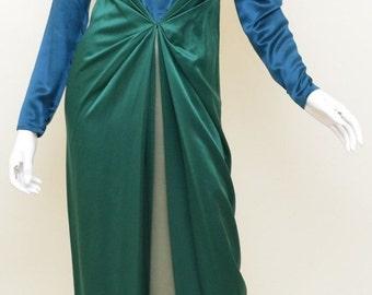 Vintage Bill Blass Gown 1990s Teal Blue & Green Satin Long Sleeve Colorblock Dress sz 10