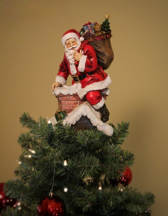 unique christmas tree toppers unique tree topper santa in chimney 11750