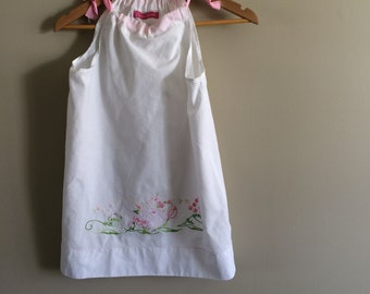 Girls hand embroidered white cotton pillowcase dress