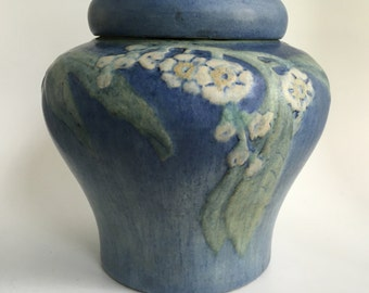 Newcomb College covered jar, freesia flowers, 1920, Henrietta Bailey