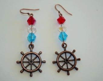 Nautical Ship Wheel Earrings, Nautical Jewelry, Patriotic Jewelry, Ship Wheel Earrings, Red White and Blue Earrings, Nautical Earrings