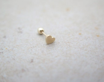 10K/14K Solid Gold piercing/Heart Piercing/Helix piercing/cartilage earring/Tragus piercing /Delicate ear piercing/Daith piercing/Conch