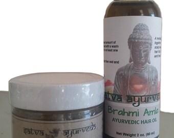 Ayurvedic Hair Care Combo - Hair Mask and Brahmi Amla Hair Oil (Organic)