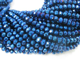 4x6mm Rondell Blue Color Crystal Glass Beads