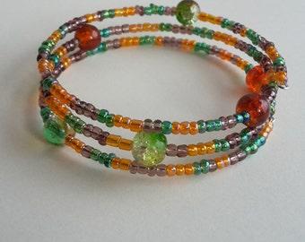 Orange and Green Beaded Wrap Bracelet