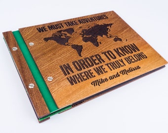 Travel photo album , Travel scrapbook album , Travel album ,  Wooden travel photobook, Personalized
