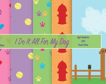 Pastel Doggy Digital Scrapbook Paper