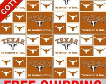 "University Texas Cotton Fabric Longhorns NCAA TX-020 45"" Wide Free Shipping"